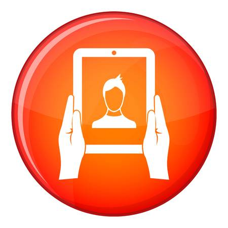 Hands holding a tablet with photo icon in red circle isolated on white background vector illustration