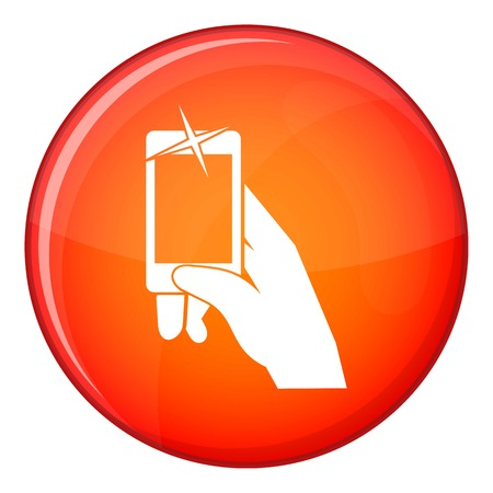 Hand taking pictures on cell phone icon in red circle isolated on white background vector illustration Illustration