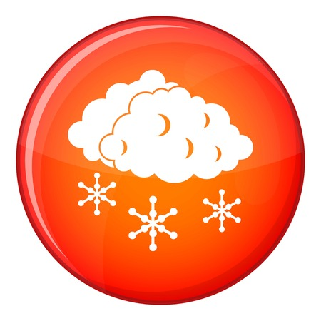sleet: Clouds and snow icon in red circle isolated on white background vector illustration