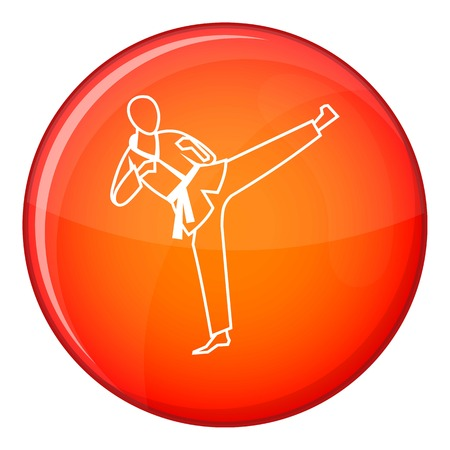 Wushu master icon in red circle isolated on white background vector illustration