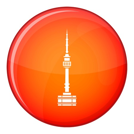 Namsan tower in Seoul icon in red circle isolated on white background vector illustration