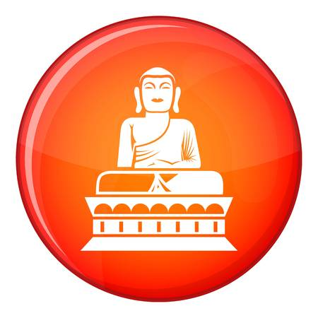 indian style sitting: Buddha statue icon in red circle isolated on white background vector illustration