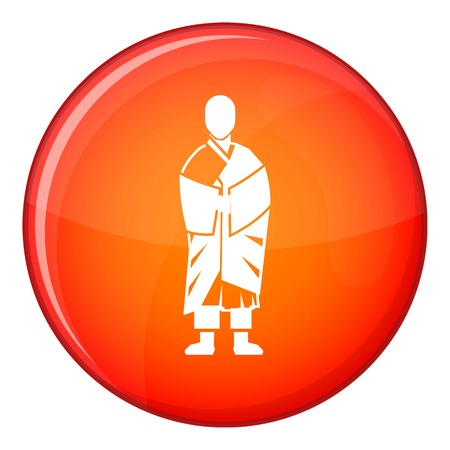 chi: Buddhist monk icon in red circle isolated on white background vector illustration
