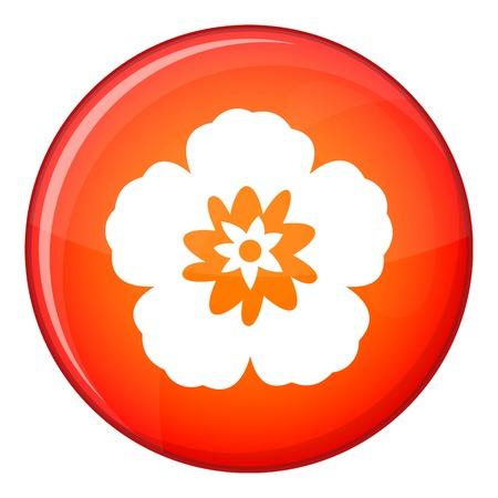 korean national: Rose of Sharon, korean national flower icon in red circle isolated on white background vector illustration