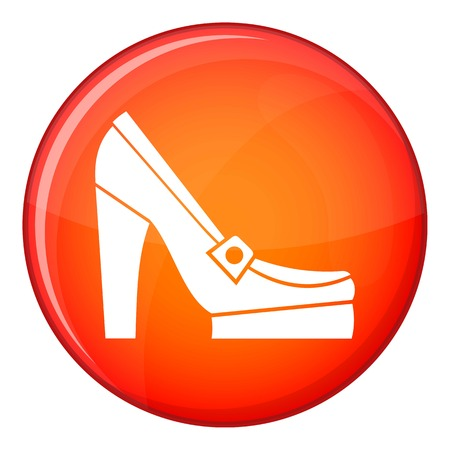 Women shoes on platform icon in red circle isolated on white background vector illustration