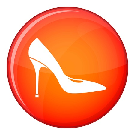 Women shoe with high heels icon in red circle isolated on white background vector illustration