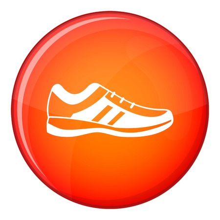 Men sneakers icon in red circle isolated on white background vector illustration Illustration