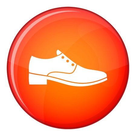 Men shoe icon in red circle isolated on white background vector illustration