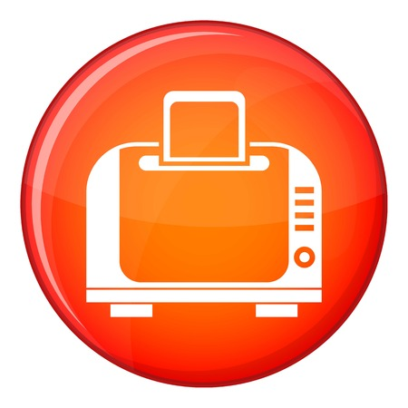 Toaster icon in red circle isolated on white background vector illustration Illustration