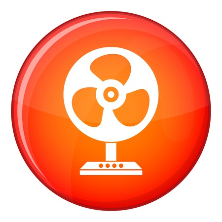 Fan icon in red circle isolated on white background vector illustration