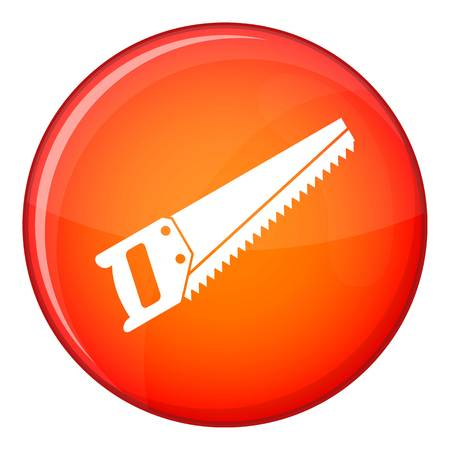 crosscut: Saw icon in red circle isolated on white background vector illustration