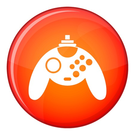 Gamepad icon in red circle isolated on white background vector illustration Illustration