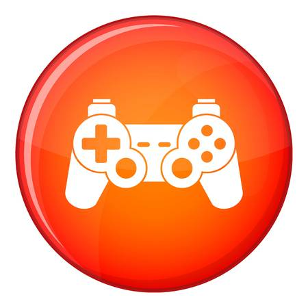 Game controller icon in red circle isolated on white background vector illustration Illustration