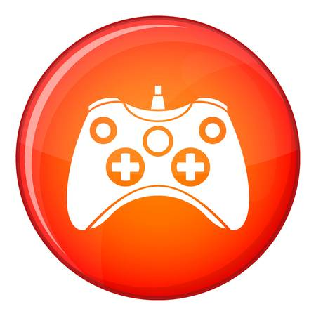 Video game controller icon in red circle isolated on white background vector illustration
