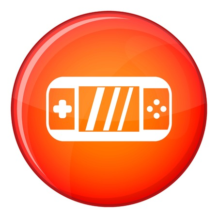portable console: Portable video game console icon in red circle isolated on white background vector illustration