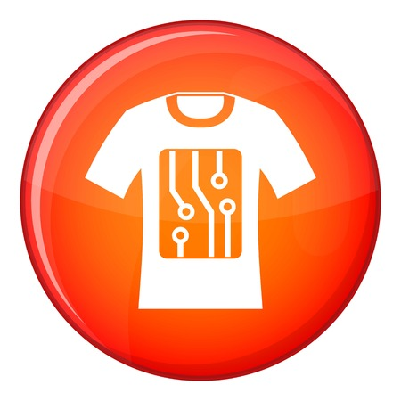 Electronic t-shirt icon in red circle isolated on white background vector illustration