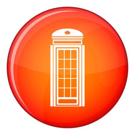 Phone booth icon in red circle isolated on white background vector illustration Illustration