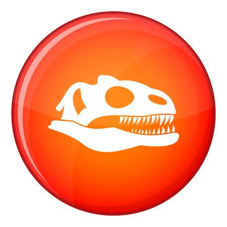vicious: Skull of dinosaur icon in red circle isolated on white background vector illustration Illustration