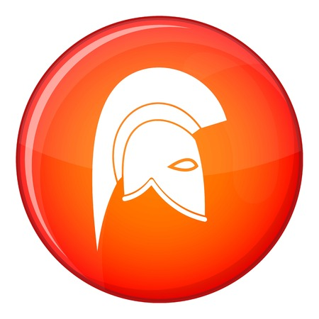 roman soldier: Roman helmet icon in red circle isolated on white background vector illustration