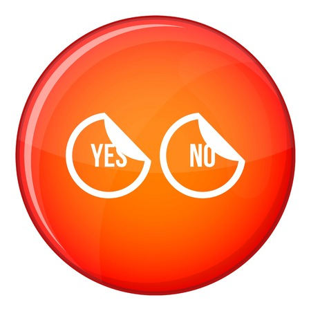 disagree: Yes and no buttons icon in red circle isolated on white background vector illustration Illustration