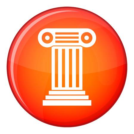 column icon: Roman column icon in red circle isolated on white background vector illustration