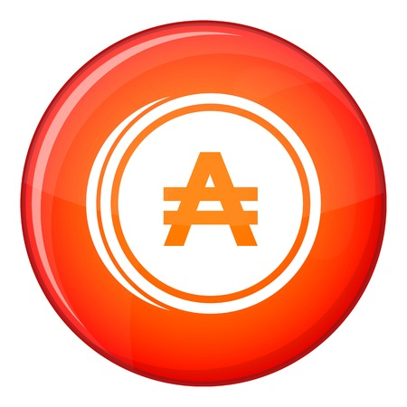 Coin austral icon in red circle isolated on white background vector illustration
