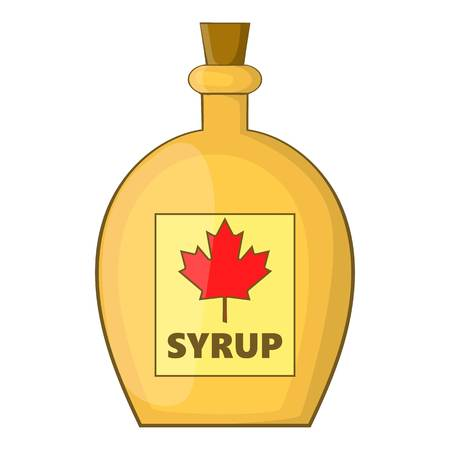 Bottle of maple syrup icon. Cartoon illustration of bottle of maple syrup vector icon for web Illustration