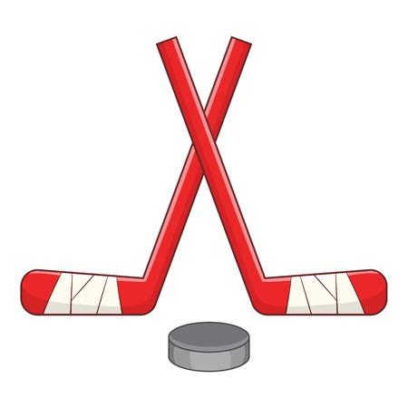 puck: Sticks and puck icon. Cartoon illustration of sticks and puck vector icon for web Illustration