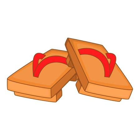 clogs: Pair of wooden clogs icon. Cartoon illustration of pair of wooden clogs vector icon for web