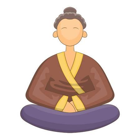 Japnese monk icon. Cartoon illustration of japnese monk vector icon for web Illustration