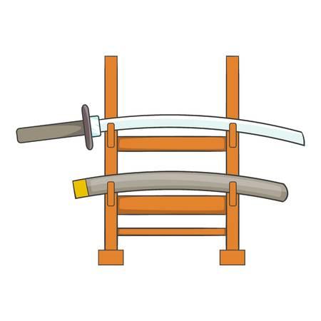 katana: Katana on a wooden stand icon. Cartoon illustration of katana on a wooden stand vector icon for web Illustration