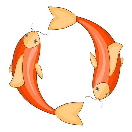 Koi carps icon. Cartoon illustration of koi carps vector icon for web Illustration