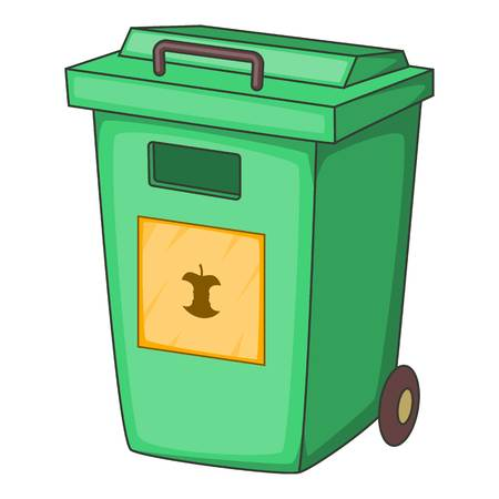 garbage container: Green garbage container icon. Cartoon illustration of garbage container vector icon for web