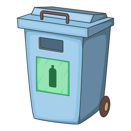 garbage container: Blue bin garbage container for plastic waste icon. Cartoon illustration of blue bin garbage container for plastic waste vector icon for web Illustration