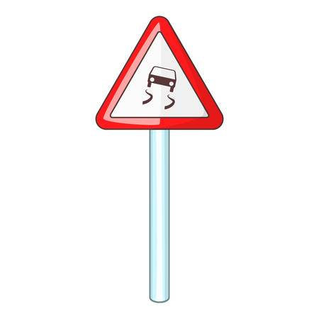 skid: Slippery when wet road sign icon. Cartoon illustration of slippery when wet road sign vector icon for web