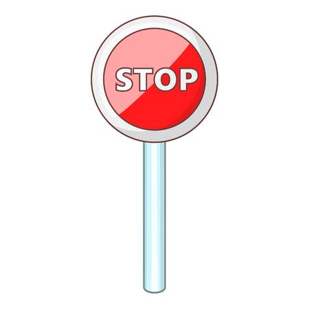 danger ahead: Red stop sign icon. Cartoon illustration of red stop sign vector icon for web