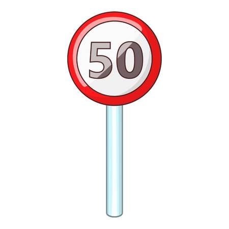 fifty: Speed limit fifty road sign icon. Cartoon illustration of speed limit fifty vector icon for web Illustration