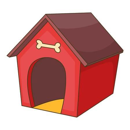 Roter Hund Haus-Symbol. Cartoon Illustration von Hund-Haus-Vektor-Symbol für Web