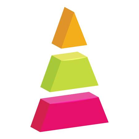 Color triangle divided icon. Cartoon illustration of triangle divided vector icon for web