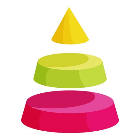 segment: Pyramid divided into three colorful segment layers icon. Cartoon illustration of pyramid divided into three colorful segment layers vector icon for web