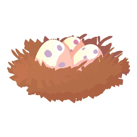 hatchling: Nest with eggs icon. Cartoon illustration of nest with eggs vector icon for web design