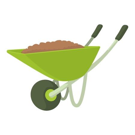 Wheelbarrow icon. Cartoon illustration of wheelbarrow vector icon for web design Illustration