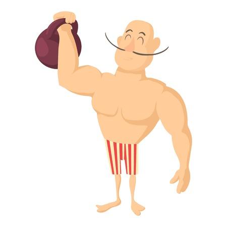 Circus strong man icon. Cartoon illustration of circus strong man vector icon for web design