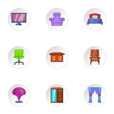 home furnishings: Home furnishings icons set. Cartoon illustration of 9 home furnishings vector icons for web