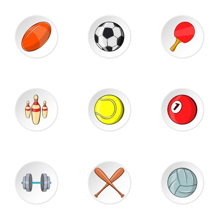 Accessories for training icons set. Cartoon illustration of 9 accessories for training vector icons for web