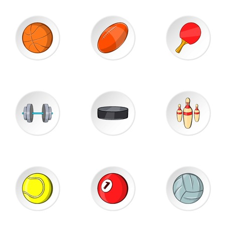 Sports equipment icons set. Cartoon illustration of 9 sports equipment vector icons for web