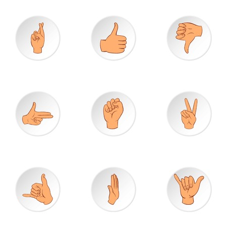control of body movement: Communication gestures icons set. Cartoon illustration of 9 communication gestures vector icons for web