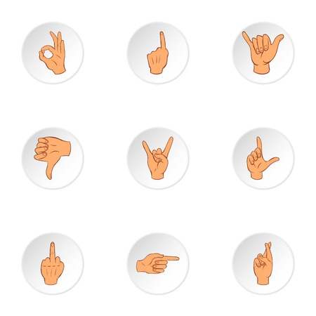Hand icons set. Cartoon illustration of 9 hand vector icons for web