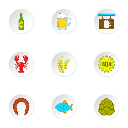 alcoholic beverage: Alcoholic beverage icons set. Cartoon illustration of 9 alcoholic beverage vector icons for web