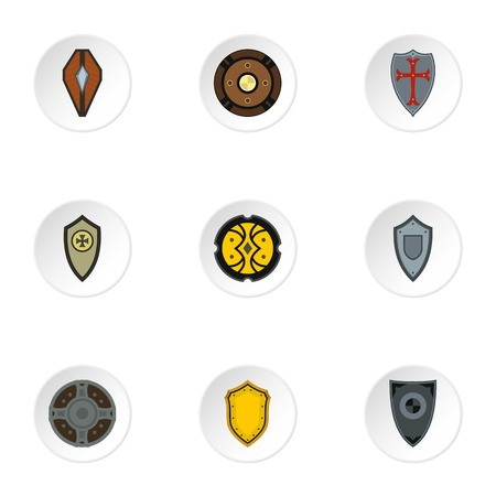 combat: Combat shield icons set. Flat illustration of 9 combat shield vector icons for web